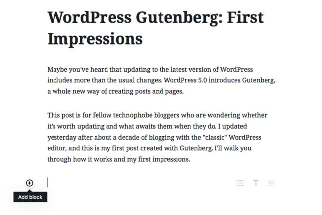 Add Block button in Gutenberg